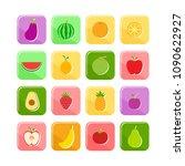 flat fruit icon set vector...   Shutterstock .eps vector #1090622927
