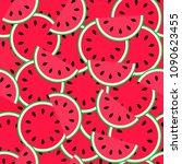 watermelon seamless pattern.... | Shutterstock .eps vector #1090623455