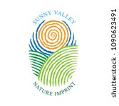 sunny valley logotype in... | Shutterstock .eps vector #1090623491