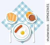 breakfast concept. appetizing... | Shutterstock .eps vector #1090625651