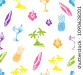 fresh summer seamless colorful... | Shutterstock .eps vector #1090628201