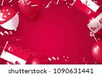 9th of august. singapore... | Shutterstock .eps vector #1090631441
