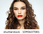 elegant brunette with bright... | Shutterstock . vector #1090637081