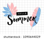 hello summer text on squared... | Shutterstock .eps vector #1090644029