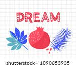 dream word. pomegranate and...   Shutterstock .eps vector #1090653935