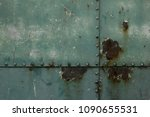 green painted metal rusty...