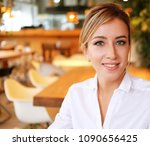 beautiful businesswoman at the... | Shutterstock . vector #1090656425