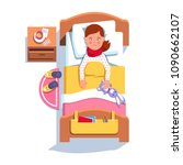 sad suffering sick patient girl ... | Shutterstock .eps vector #1090662107