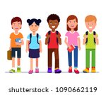 smiling kids school students... | Shutterstock .eps vector #1090662119