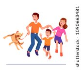 happy family dances together... | Shutterstock .eps vector #1090663481