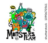 monsters  team composition for... | Shutterstock .eps vector #1090670561