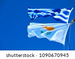 waving greek and cyprian flags...   Shutterstock . vector #1090670945