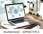 man using laptop computer with... | Shutterstock . vector #1090671911