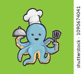 illustration of squid with chef ... | Shutterstock .eps vector #1090674041