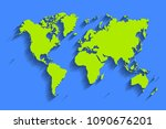 world map . blue color... | Shutterstock . vector #1090676201