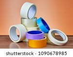 a heap of packing tape and a... | Shutterstock . vector #1090678985