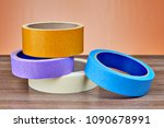 rolls of multi colored paper... | Shutterstock . vector #1090678991
