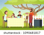 happy family eating barbecue... | Shutterstock .eps vector #1090681817