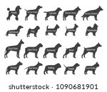 Stock vector black dog breeds vector silhouettes isolated on white background profile of poodle and labrador 1090681901