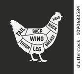 chicken cuts. meat cuts.... | Shutterstock .eps vector #1090683584