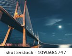 vasco da gama bridge in lisbon  ... | Shutterstock . vector #1090685747