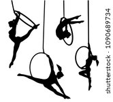 aerial hoop vector silhouette... | Shutterstock .eps vector #1090689734