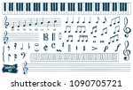 music notes doodles set. piano... | Shutterstock .eps vector #1090705721