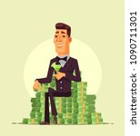 rich wealthy happy smiling... | Shutterstock .eps vector #1090711301