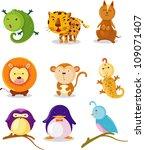 collection  animal alphabet i q   Shutterstock .eps vector #109071407