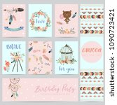 pink blue cards for banners... | Shutterstock .eps vector #1090723421