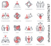 vector set of flat linear icons ... | Shutterstock .eps vector #1090756787