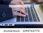 working woman using keyboard on ...   Shutterstock . vector #1090763774