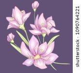 flower branch and leaves. hand... | Shutterstock .eps vector #1090764221
