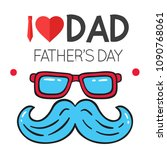 i love dad father's day blue... | Shutterstock .eps vector #1090768061