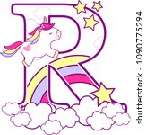 Initial R With Cute Unicorn An...