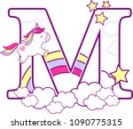 initial m with cute unicorn and ... | Shutterstock .eps vector #1090775315