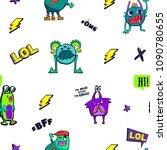 abstract seamless monster...   Shutterstock .eps vector #1090780655