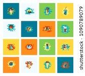dessert icons in simple ... | Shutterstock .eps vector #1090789079