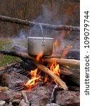 saucepan on campfire | Shutterstock . vector #109079744