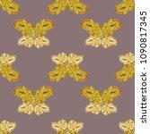 butterfly doodle seamless... | Shutterstock . vector #1090817345