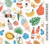 seamless pattern with summer... | Shutterstock .eps vector #1090843265