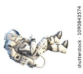 astronaut on white. mixed media   Shutterstock . vector #1090843574