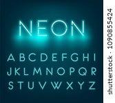 neon light alphabet font.... | Shutterstock . vector #1090855424