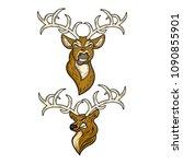 evil and courageous deer logo   Shutterstock .eps vector #1090855901
