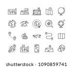 world map line icon set  global ... | Shutterstock .eps vector #1090859741