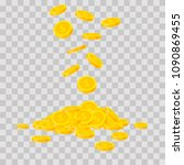 falling gold coins on... | Shutterstock .eps vector #1090869455