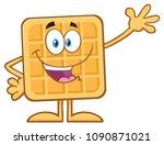 happy square waffle cartoon... | Shutterstock .eps vector #1090871021