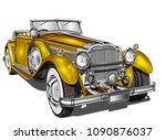 vintage  car isolated on white... | Shutterstock .eps vector #1090876037