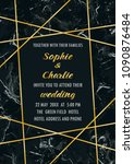 wedding invitation with gold...   Shutterstock .eps vector #1090876484