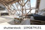 garret interior design. wooden... | Shutterstock . vector #1090879151